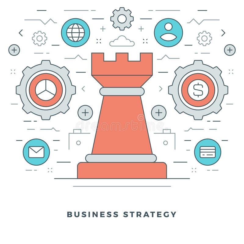 Flache Linie Geschäfts-strategisches Management Auch im corel abgehobenen Betrag lizenzfreie abbildung