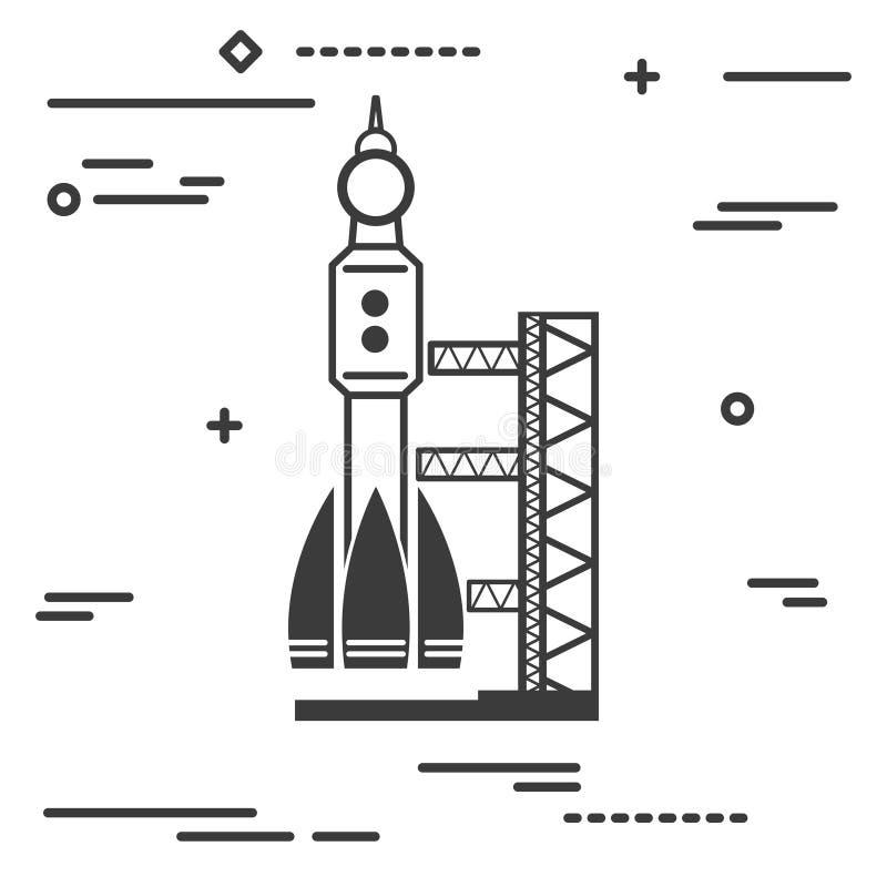 Flache Linie grafisches Bildkonzept des Kunstdesigns des schwarzen Startplatzes lizenzfreie abbildung