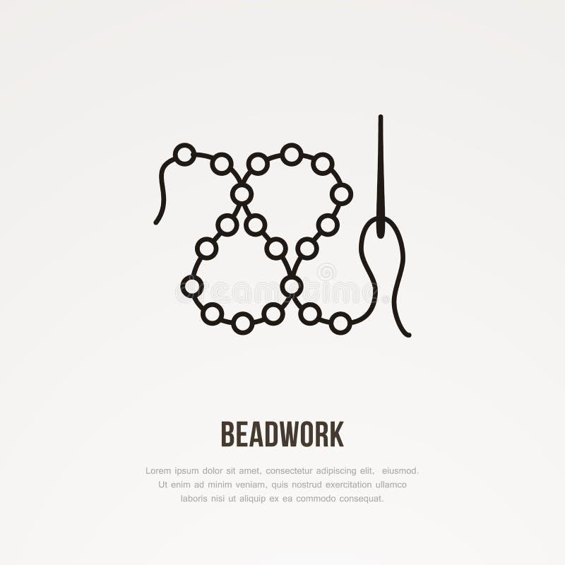 Flache Linie Ikone der Beadworkwerkstatt Perlen mit Nadelzeichen Dünnes lineares Logo für nähenden Speicher vektor abbildung