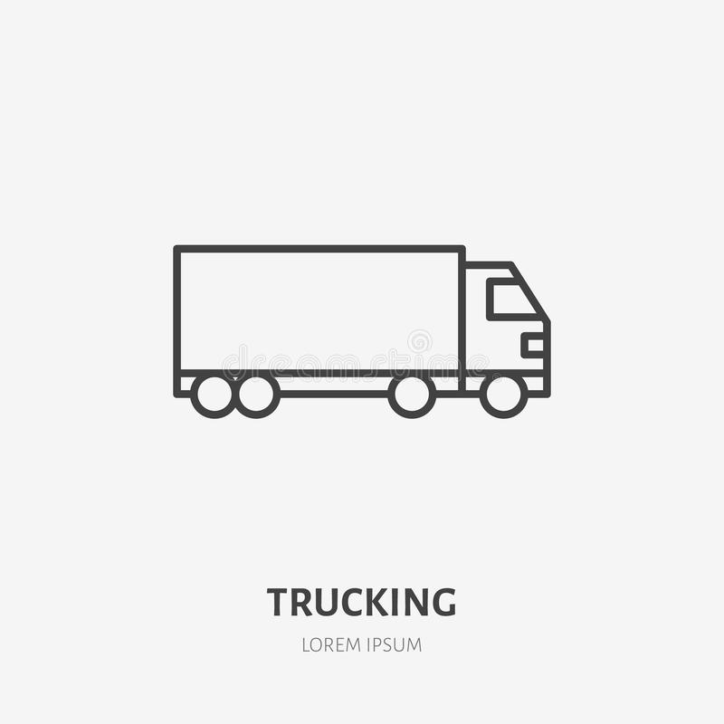 Flache Linie Ikone der Lastwagenlieferung LKW-Zeichen Verdünnen Sie lineares Logo für die tauschende Fracht, Frachtdienste vektor abbildung