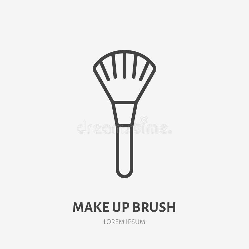 Flache Linie Ikone der Make-upbürste Schönheitspflegezeichen, Illustration von bilden Künstlerausrüstung Dünnes lineares Logo für vektor abbildung