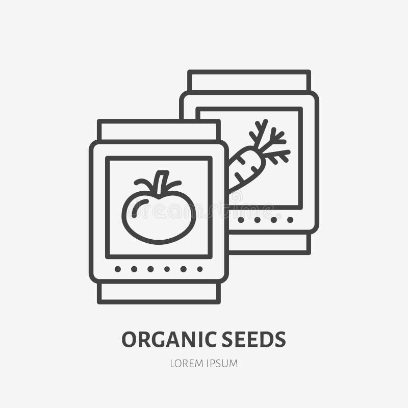 Flache Linie Ikone der organischen Samen Gartenarbeit, Gemüsezuchtzeichen Dünnes lineares Logo für Bauernhof, Landwirtschaft lizenzfreie abbildung