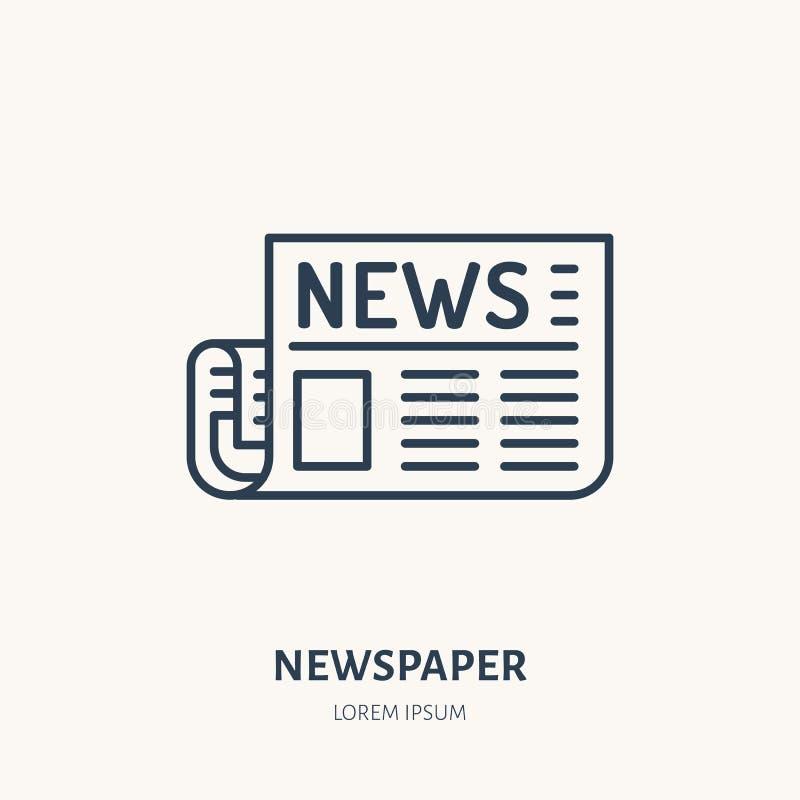Flache Linie Ikone der Zeitung Zeitungsartikelzeichen Dünnes lineares Logo für Presse lizenzfreie abbildung