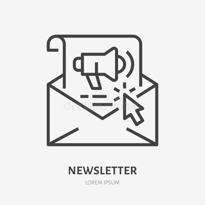 Flache Linie Ikone des E-Mail-Newsletters Copywriting, Illustration des Verkaufs des Textes für Post Dünnes Zeichen des Werbebr stock abbildung