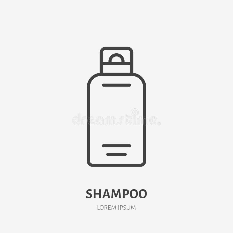 Flache Linie Ikone des Shampoos Schönheitspflegezeichen, Illustration der Flüssigseife in der Plastikflasche Dünnes lineares Logo stock abbildung