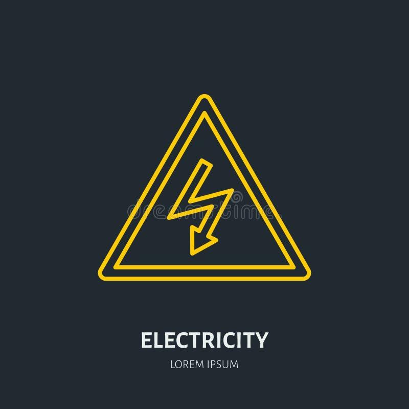 Flache Linie Ikone des Stroms Hochspannungswarnschild Warnen, elektrische Sicherheitsillustration stock abbildung