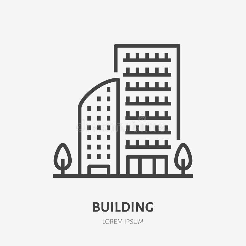 Flache Linie Ikone des Wohngebäudes Dünnes Zeichen des Vektors des mehrstöckigen Haus-, Eigentumswohnungs- oder Büromietlogos Gru stock abbildung
