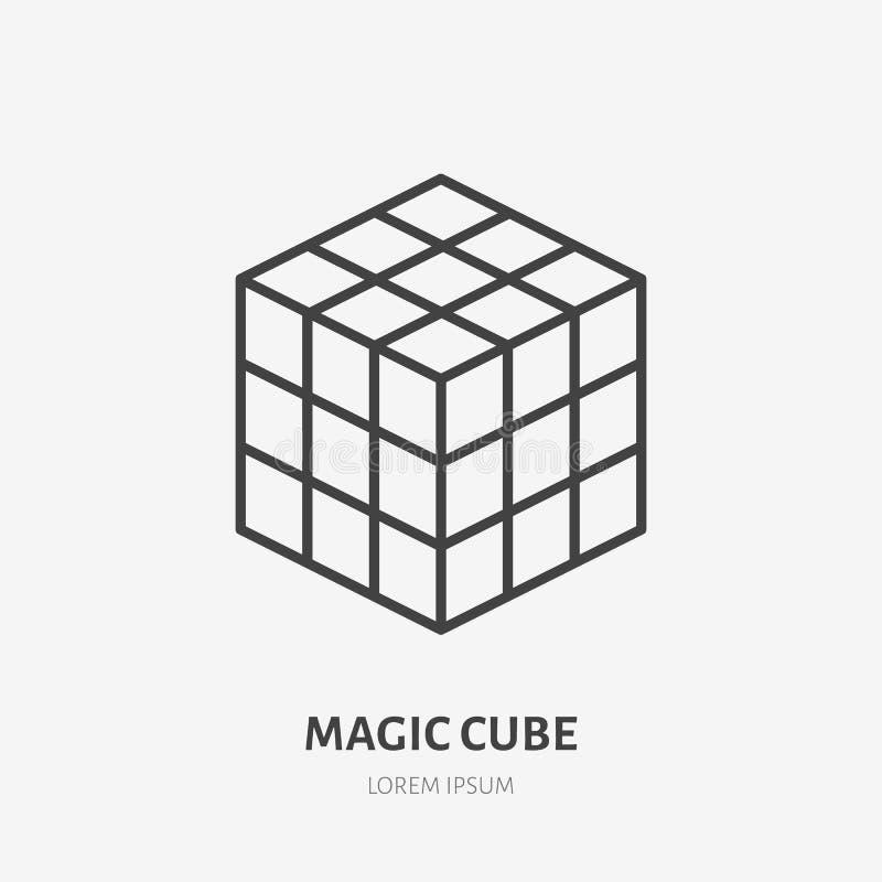 Flache Linie Ikone magischen Würfels Rubik Rätselspielvektorillustration Zeichen für Kindershop vektor abbildung