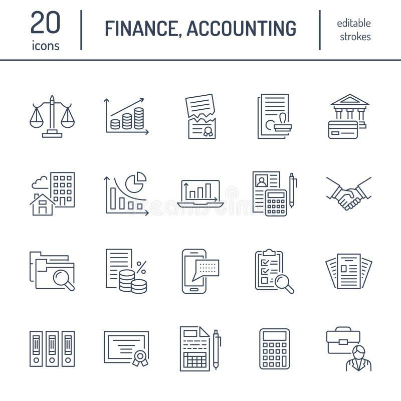 Flache Linie Ikonen der Finanzbuchhaltung Buchhaltungssteueroptimierung, feste Auflösung, Buchhalteroutsourcing, Gehaltsliste stock abbildung