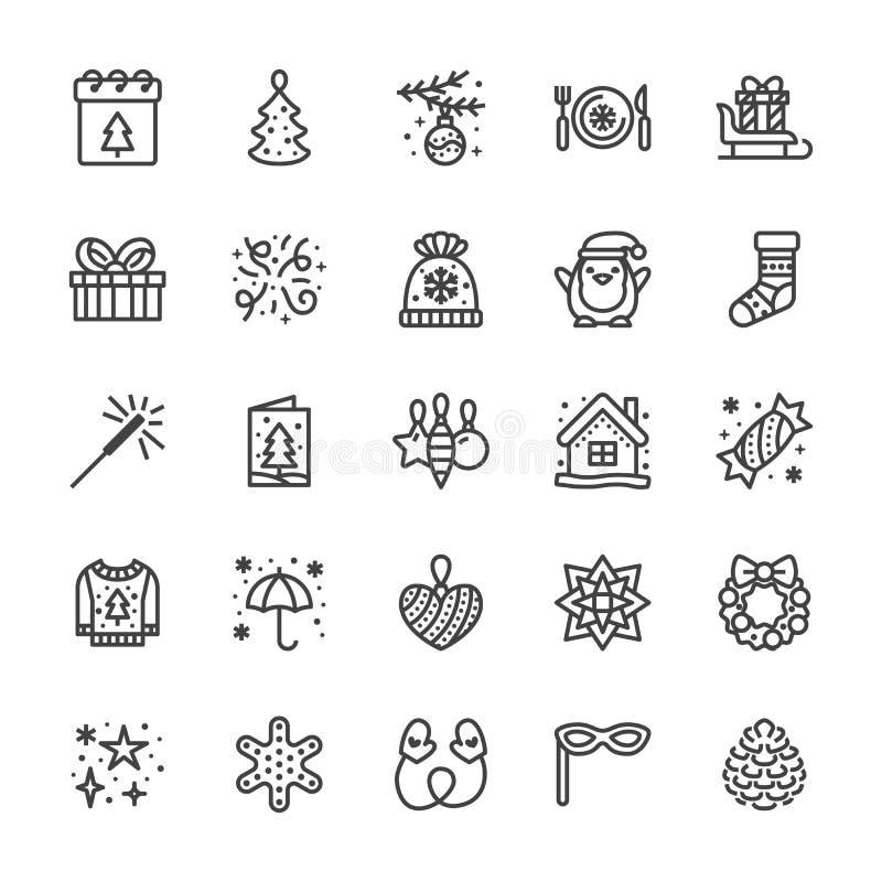 Flache Linie Ikonen der frohen Weihnachten Kiefer spielt, Schneeflocke, Geschenke auf Pferdeschlitten, Karte, Wunderkerze, Winter lizenzfreie abbildung