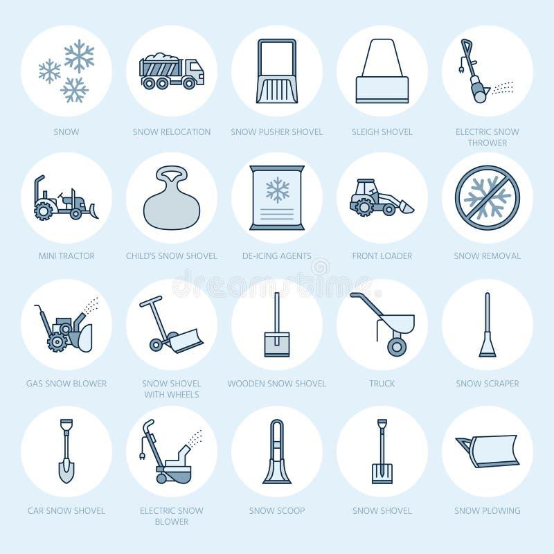 Flache Linie Ikonen der Schneeräumung Eisverlegungsservice-Zeichen Ausrüstung des kühlen Wetters - Schneewerfer, Gebläse, LKW, vo lizenzfreie abbildung