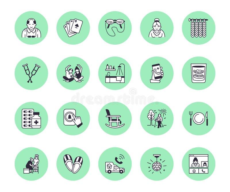 Flache Linie Ikonen des Altenpflegevektors Pflegende haus- Tätigkeit der alten Leute, Rollstuhl, Gesundheits-Check, Krankenhausan stock abbildung