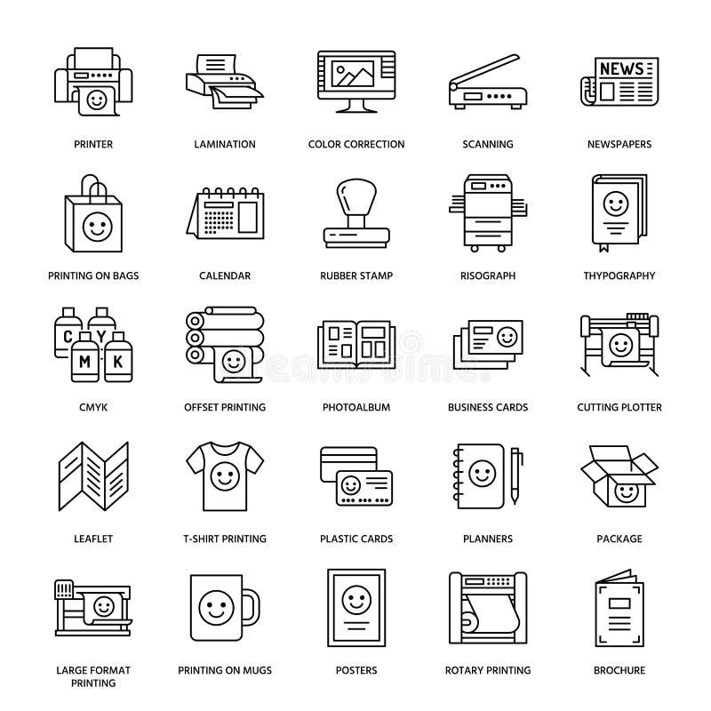 Flache Linie Ikonen des Druckhauses Druckereiausrüstung - Drucker, Scanner, Offsetmaschine, Plotter, Broschüre, Stempel vektor abbildung