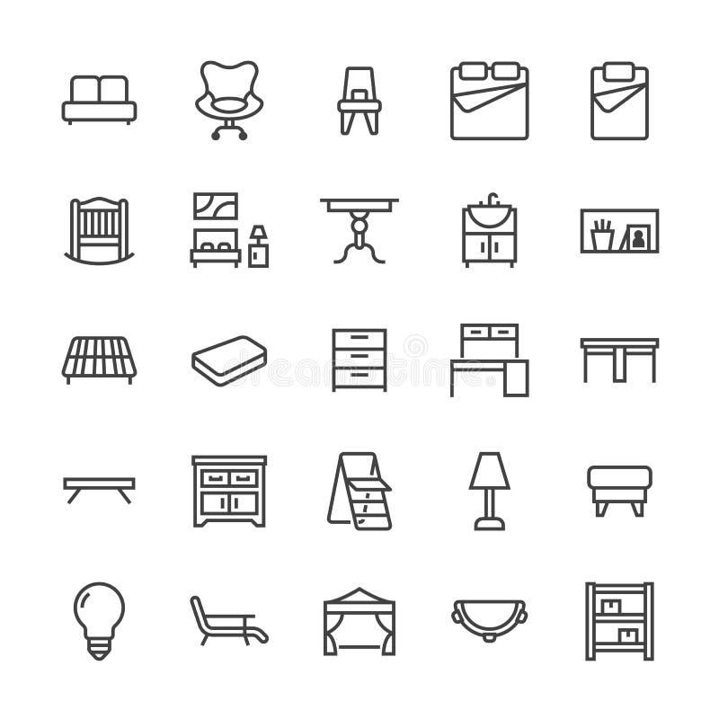 Flache Linie Ikonen des Möbelvektors Wohnzimmerbadezimmerwanne, Schlafzimmer, Matratze, Bürostuhl, Sofa, Gartenzeltspeisen stock abbildung