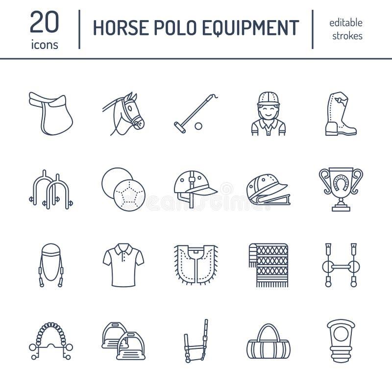 Flache Linie Ikonen des Pferdepolo Vector Illustration des Pferdesportspiels, Reiterausrüstung - satteln Sie, Lederstiefel vektor abbildung