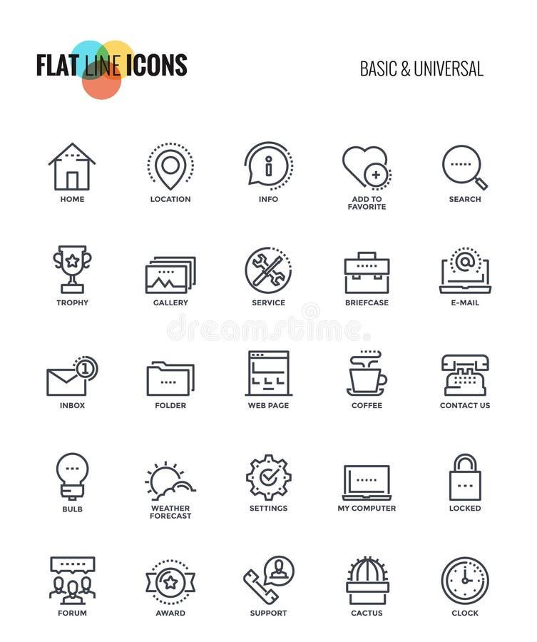 Flache Linie Ikonen Design-grundlegend und allgemeinhin lizenzfreie abbildung