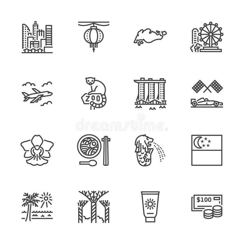 Flache Linie Ikonen Singapurs Tourismusmarksteine - Riesenrad, Jachthafenbucht, Wolkenkratzerstadtbild, Orchidee, Zoovektor lizenzfreie abbildung