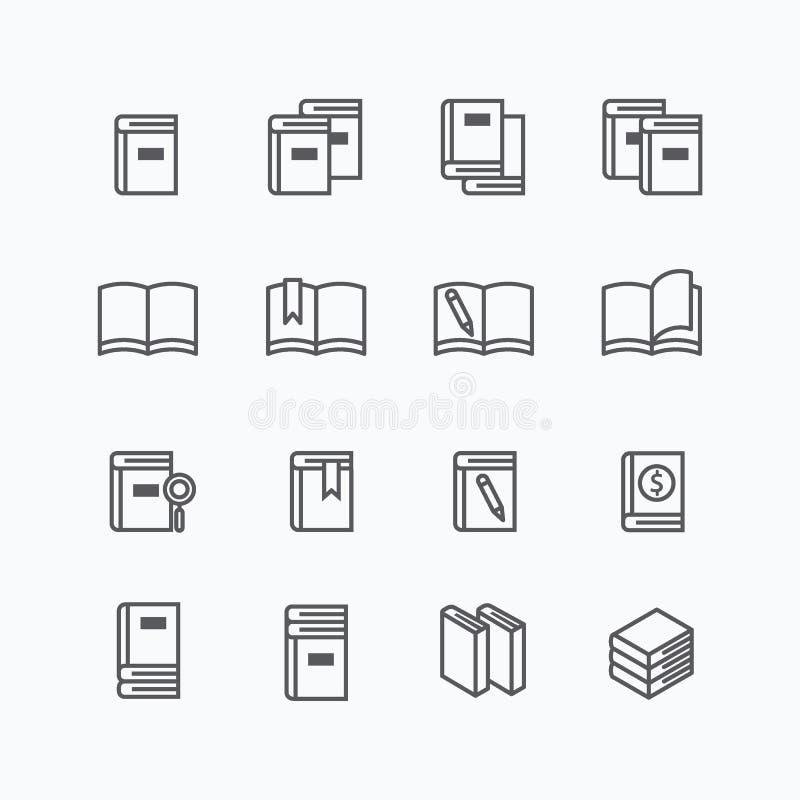 Flache Linie Ikonendesign-Vektorsatz des Buches vektor abbildung