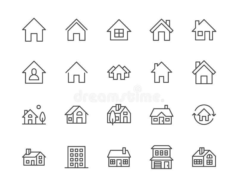 Flache Linie Ikonensatz der Häuser Homepageknopf, Wohngebäude, Landhäuschen, Wohnungsvektorillustrationen vektor abbildung