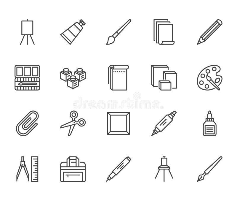Flache Linie Ikonensatz der Kunstversorgungen Ölfarben, Aquarell, Zeichenpapier, Sketchbook, pallette, Briefpapiervektor vektor abbildung