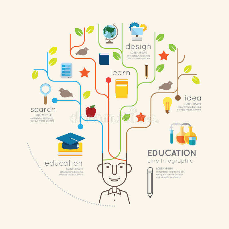 Flache Linie Infographic-Bildungs-Leute und Bleistift-Baum-Entwurf stock abbildung