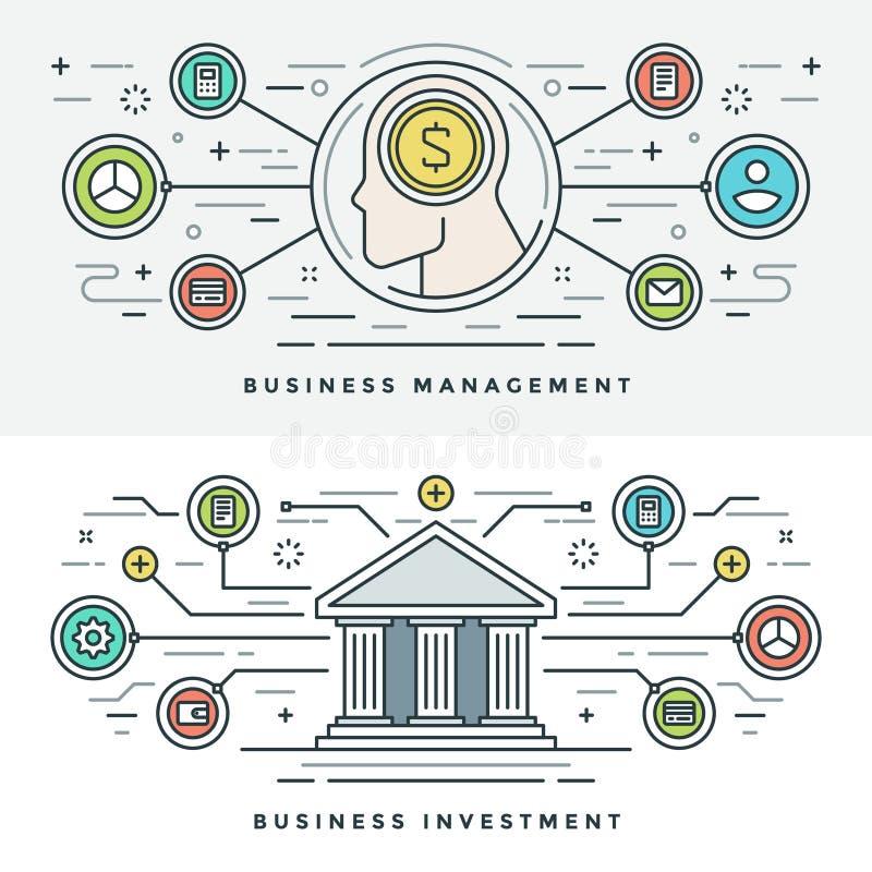 Flache Linie Investition und Geschäftsführungs-Konzept Vector Illustration Moderne dünne lineare Anschlagvektorikonen stock abbildung