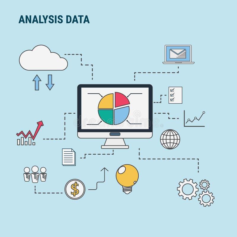 Flache Linie Konzept des Entwurfes für Analysedaten, verwendet für Netzfahnen, Heldbilder, Druckerzeugnisse lizenzfreie abbildung