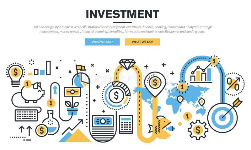 Flache Linie Konzept des Entwurfes für globale Investition stock abbildung