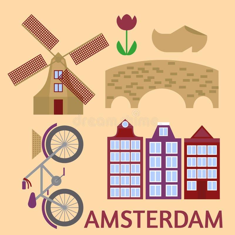 Flache Linie Kunst Amsterdam-Stadt Reisemarkstein, Architektur von den Niederlanden, Holland Häuser, europäisches Gebäude lokalis lizenzfreie abbildung