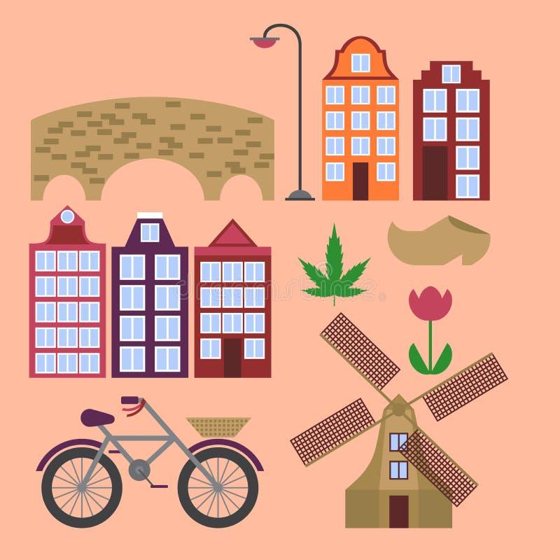 Flache Linie Kunst Amsterdam-Stadt Reisemarkstein, Architektur von den Niederlanden, Holland Häuser, europäisches Gebäude lokalis stock abbildung