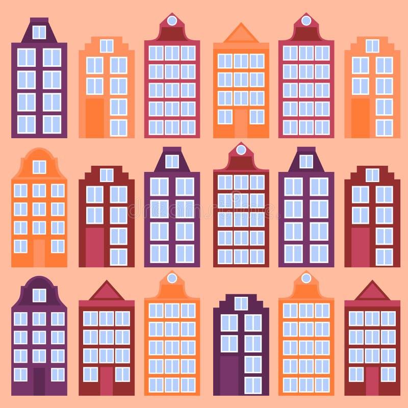 Flache Linie Kunst Amsterdam-Stadt Reisemarkstein, Architektur von den Niederlanden, Holland Häuser, europäisches Gebäude lokalis vektor abbildung