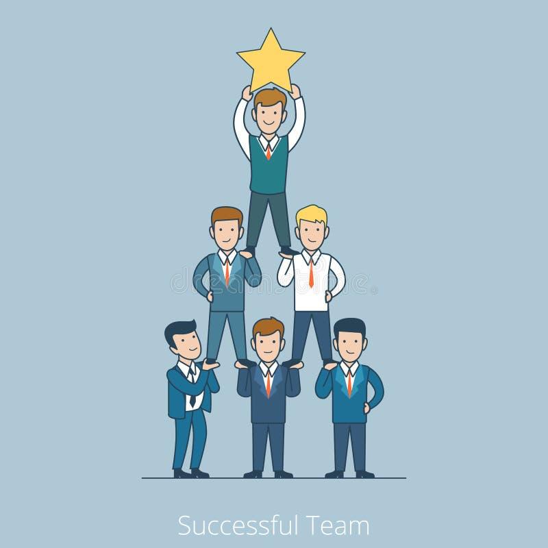 Flache Linie Kunstgeschäft der erfolgreichen Teammannpyramide stock abbildung