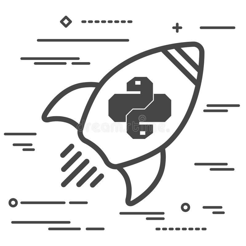 Flache Linie Kunstkonzeptillustration des Raumschiffes mit Pythonschlangencode lizenzfreie abbildung