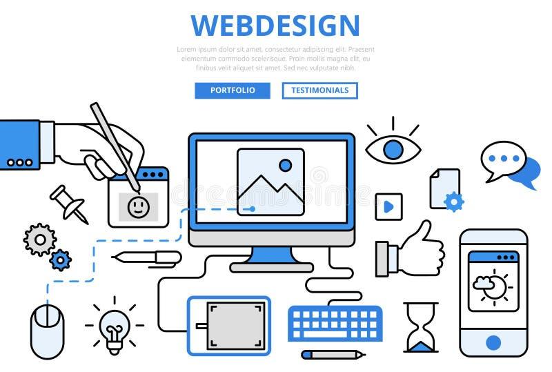 Flache Linie Kunstvektorikonen Webdesign-Websitedesign GUI-Konzeptes vektor abbildung