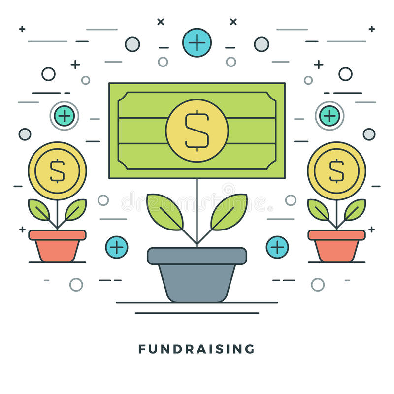 Flache Linie Mittelbeschaffung und Finanzwachstums-Konzept-Vektorillustration lizenzfreie abbildung