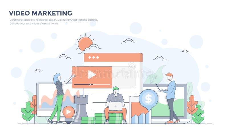 Flache Linie moderne Konzept-Illustration - Videomarketing lizenzfreie abbildung