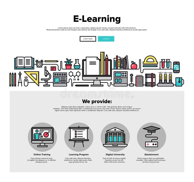 Flache Linie Netzgraphiken des E-Learnings lizenzfreie abbildung