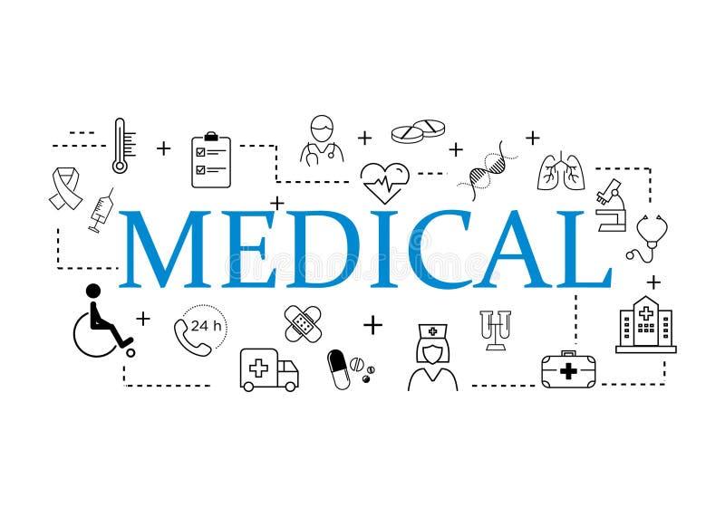 Flache Linie Satzikonenillustration des medizinischen Elements stock abbildung