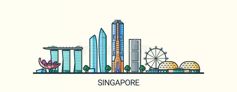 Flache Linie Singapur-Fahne stock abbildung