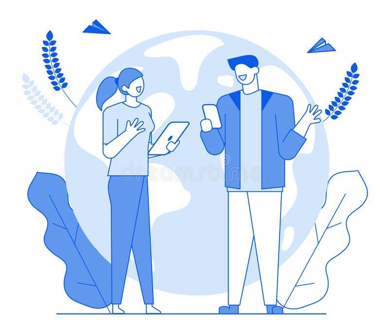Flache Linie sprechende Leutecharakterfreunde, Gesprächskommunikationskonzept der modernen Karikatur Junger Charakter des Entwurf vektor abbildung