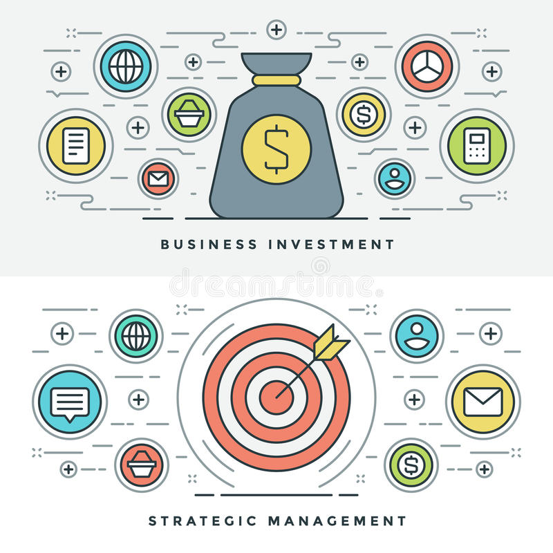 Flache Linie strategisches Management und Investition Auch im corel abgehobenen Betrag lizenzfreie abbildung