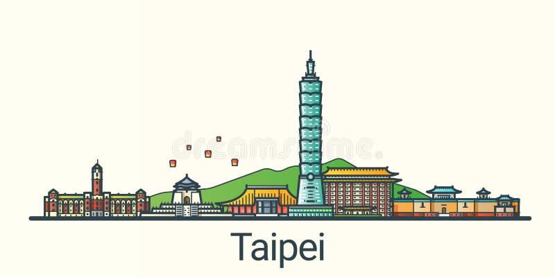 Flache Linie Taipeh-Fahne vektor abbildung