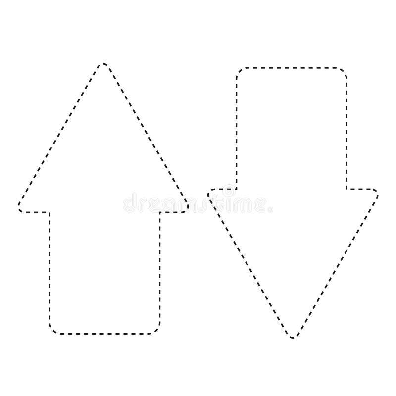 Flache Linie ungefärbter Geschäfts-Pfeil-Aufkleber über weißem Hintergrund lizenzfreie abbildung