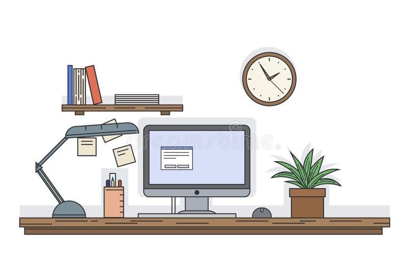 Flache Linie Vektorschreibtisch mit Computer und andere Ausrüstung, Uhr und Regal mit Büchern auf der Wand, Büroszenenillustratio stock abbildung