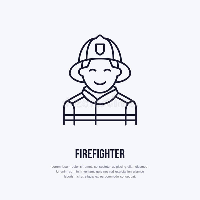 Flache Linie Zeichen des Feuerwehrmanns Dünne lineare Ikone des Flammenschutzes, Piktogramm Lächelnder Feuerwehrmannvektor auf We lizenzfreie abbildung