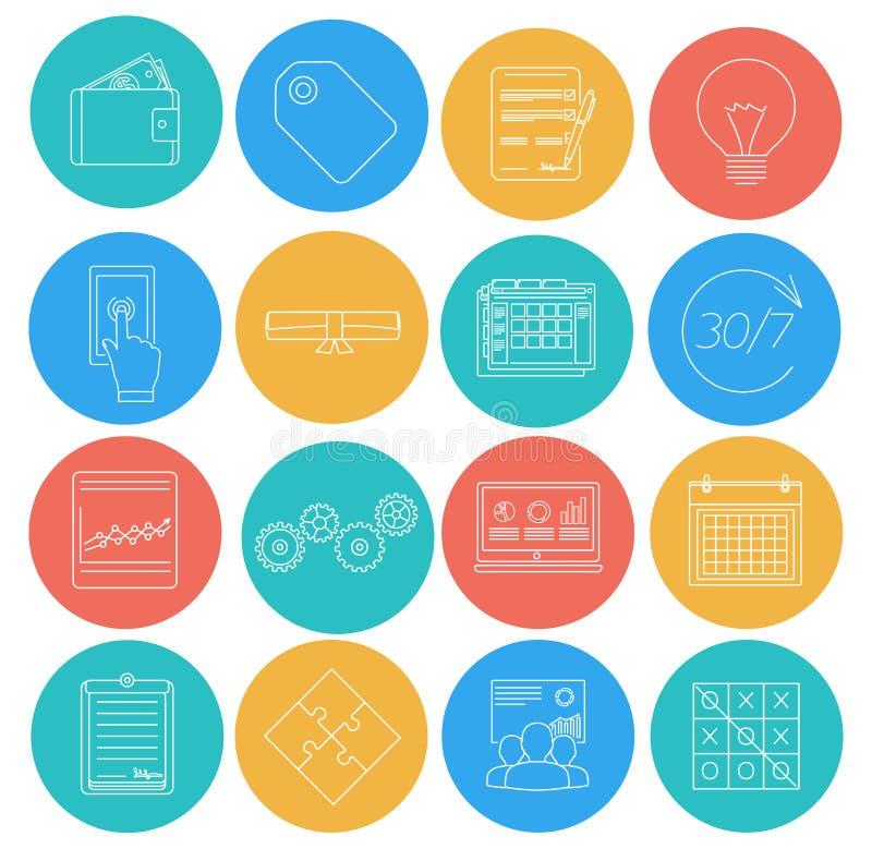 Flache Linien Ikonen des Geschäfts und der Finanzierung Elektronischer Geschäftsverkehr, SEO, Marketing, Büro lizenzfreie abbildung