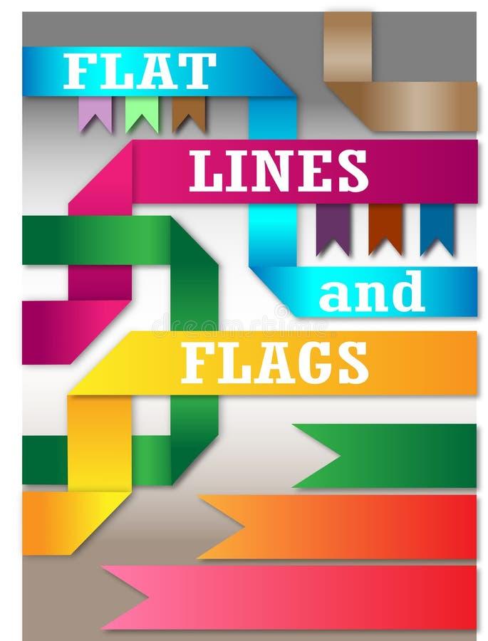 Flache Linien und Flaggensatz stockfoto