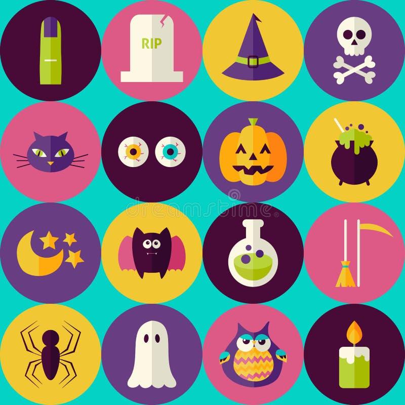 Flache magische Halloween-Hexen-nahtloses Muster mit buntem Kreis vektor abbildung