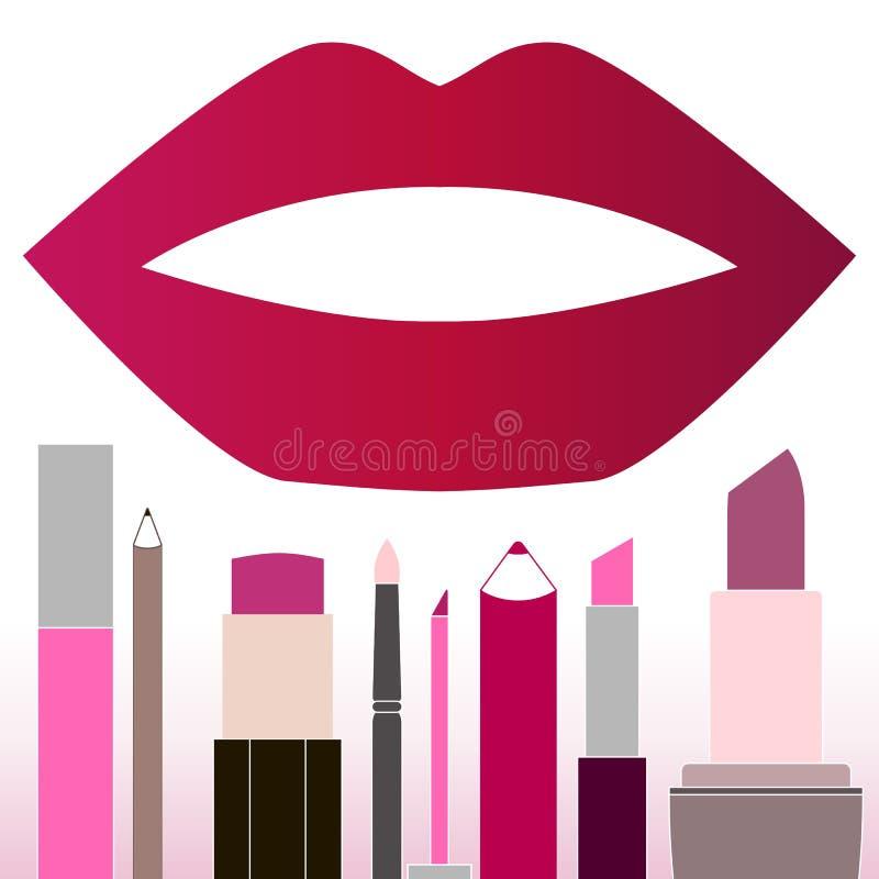 Flache mehrfarbige Lippenstifte lizenzfreie abbildung