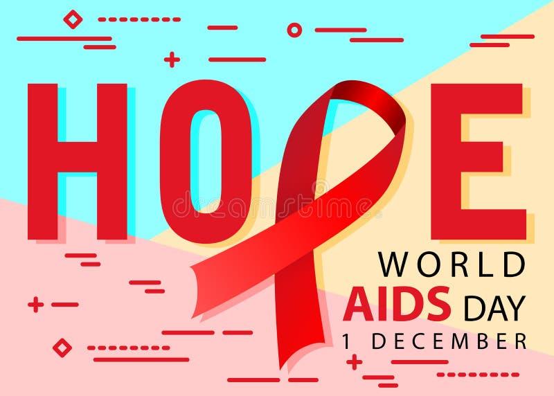 Flache moderne minimale rote Bewusstseins-Bandikone des Hoffnungswelt-aids-tages am 1. Dezember auf Blauem, Rosa und gelbem farbi lizenzfreie abbildung